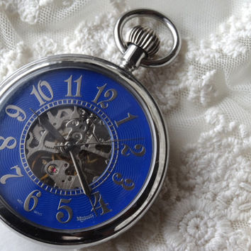 1- Mens Blue Pocketwatch Analog Clock Open Face Silver Watch Pendant Jewelry Making Supplies
