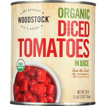 Tomatoes - Organic - Diced - in Juice - 28 oz - case of 12