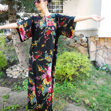 Handmade Floral Long Dress / Maxi Plus Size Dress / Summer Party Dress / Everyday Loose Dress / Black Evening Dress by moShic D002