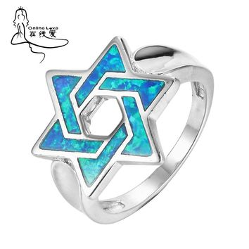 Star of David Ring Cool Punk Israel Jewish Male Jewelry  Blue Opal Religion Vintage Fashion R195