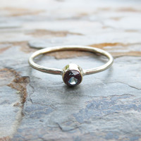 Tiny Alexandrite Ring in Solid 14k Yellow or White Gold: June Birthstone Stacking Ring