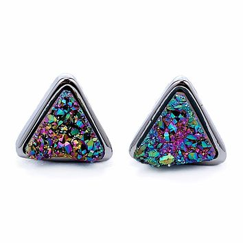 Silver Rainbow Red Druzy Trillion Studs