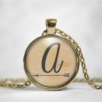 Initial Necklace with Arrow Glass Pendant Necklace - choose your letter!