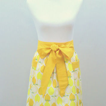 Fruit Apron, Womens Half, Yellow, Lemons, Oranges, Citrus Theme, Kitchen, Housewarming, Birthday, Shower,Holiday Gift for Her,Matching Items
