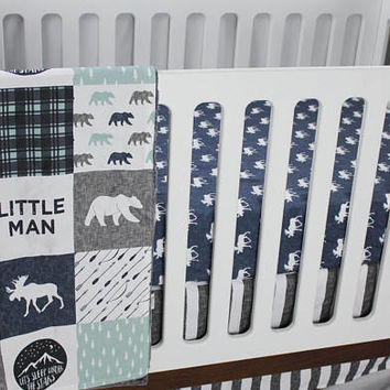 Woodland Crib Bedding - Little Man Bedding - Dusty Blue, Navy and Grey - Moose and Bear Baby Bedding - Premium Custom Crib Bedding