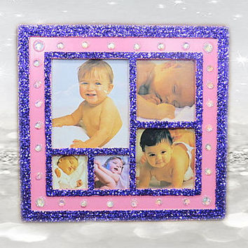 Purple Frame - Pink Frame - Collage Frame - Little Girls Room Decorations - Gifts For Her - Birthday Gifts - Friends Gifts - Gifts For Mom