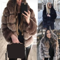 2018 Winter Women Plus Size Coats With Fur Trim Hood Hooded Thick Warm Faux Fur Coat Fashion Long Sleeve Slim Coat