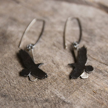 Silver bird earrings, artisan bird jewelry, black raven earrings, nature inspired earrings, graduation gift for birdlover