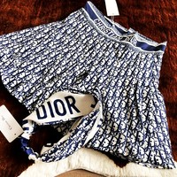 Dior 2019 new side letter printed satin hair band