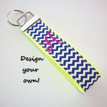 FINGER Key FOB / KeyChain / Wristlet  - initial monogram on your choice of chevron preppy -  custom