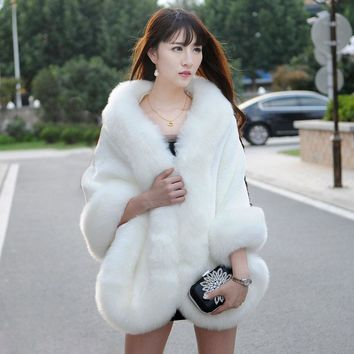 Fur Vest Rushed Top Fashion Bride Wedding Dress 2016 Autumn And Winter Female Fur Coat Was Imitation Mink Fox Large Size Shawl