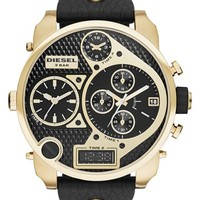 Men's DIESEL 'Mr. Daddy' Leather Strap Watch, 58mm - Black/ Gold