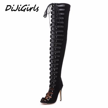 DiJiGirls women over the knee gladiator sandals boots high heels shoes woman cross strap ladies stiletto peep toe shoes 35-40