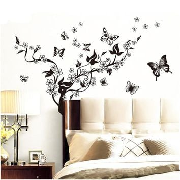 Romantic Tree and Butterflies Wall Stickers art decals living room decorative stickers wallpaper diy home bedroom decoration
