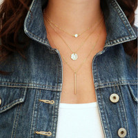 Gold Layered Chain necklace with Vertical Bar and Coin Charm