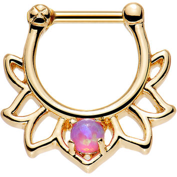 "1/4"" Pink Faux Opal Gold Anodized Lotus Septum Clicker"
