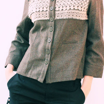 Green Vintage Wool Jacket, Lace Trimmed Jacket, Upcycled Clothing