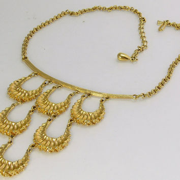 Vintage 70s Egyptian Style Collar Necklace Raquel Jewelry