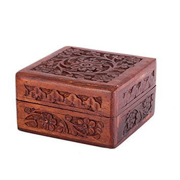Rustic Hand Carved Wooden Trinket Keepsake Box, (4 x 4 inches) with Floral Patterns & Brass Inlay