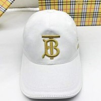 Burberry New fashion embroidery letter high quality couple cap hat White