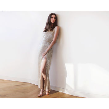 Metallic Gold pleated maxi dress, Gold maxi sleeveless gown, Glamorous party dress
