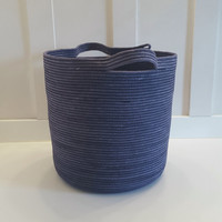 Extra Large Indigo Dyed Rope Basket with Handles