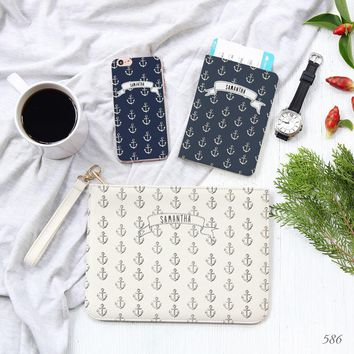 Nautical Combo Passport Holder, Clutch and Phone case