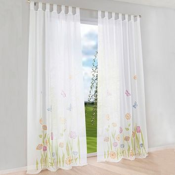 1 pcs Floral Butterfly  Print Tab Top Windows Curtains Sheer Panel Drapes