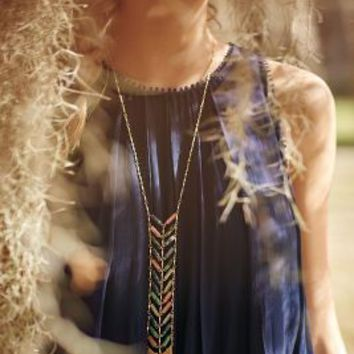Chevron Fringe Lariat Necklace by Anthropologie in Turquoise Size: One Size Necklaces
