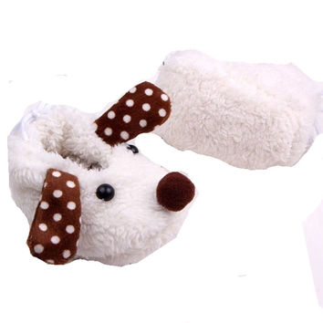 White Furry Doggie Girl or Boy  Baby Booties with Brown and White Dot Ears