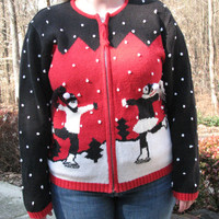 Tacky christmas sweater, tacky sweater, christmas sweater, sweater, ice skaters, winter sweater, unique sweater, ugly sweater, christmas