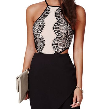 Halter Sleeveless Cut-Out High Waisted Bodycon Dress