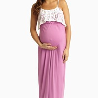 Orchid Ivory Lace Overlay Maternity Maxi Dress
