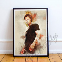 Sam Winchester Art Poster, Sam - Supernatural Watercolor Art Print, Jared Padalecki - poster