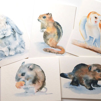 Woodland Animals Watercolor Card Set3