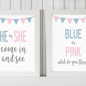 "Gender Reveal Party Decoration DIGITAL DOWNLOAD 8"" x 10"" Printable Sign Set 