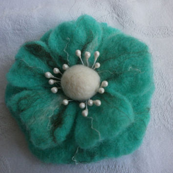 Felt brooch,white brown turquoise felt flower brooch,poppy felt brooch flower, turquoise jewelry,summer  accessories,hairclip, Memorial day