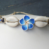 Sunny Blue Day Flower Shells Hemp Anklet girls handmade jewelry hippie