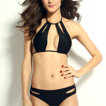 Sexy Cool Cut outs Halter Bikini Set with Strings Black