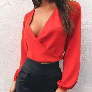 Sexy Popular Women Sexy Long Sleeve V Collar Backless Pure Color Top Red