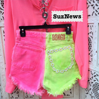 Rave Neon Bright Pink Spray Dye High Waisted Shorts Daisy Pocket Lime Tropical Waist 26//SuzNews Etsy Store//