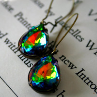 Vivienne Earrings large Vitrail Glass Jewels by orangejuniper