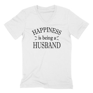 Happiness is being a husband best gift for hubby husband  V Neck T Shirt