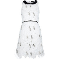 River Island Womens White embellished lace A-line dress