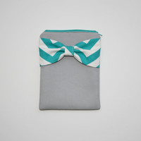 iPad Case - Android - Microsoft Tablet Sleeve - Gray with Turquoise Chevron Bow - Padded