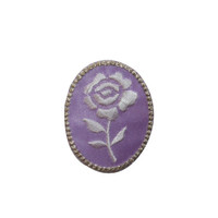 ID #6434 Framed Purple Rose Oval Border Iron On Embroidered Patch Applique