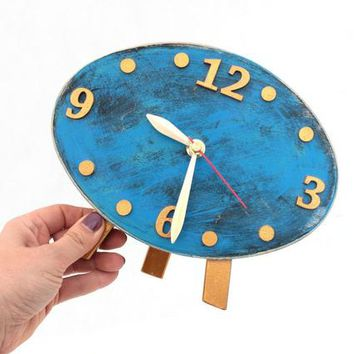NO TICKING Desk Wood Clock, Gold Blue Table Clock, QUIET / Silent Ellipse Distressed Mantle clock, Gold Sky Blue decor, Mothers day gift