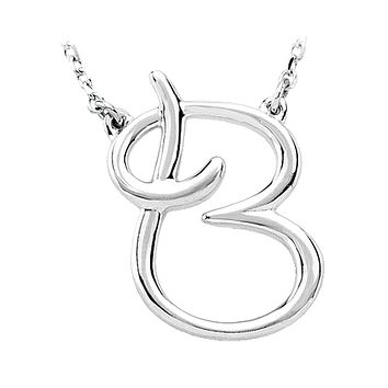 14k White Gold, Olivia Collection, Medium Script Initial B Necklace