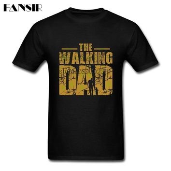Father's Day Gift The Walking Dad Zombie Men T Shirt Funny Tees Shirt Short Sleeve O-neck Cotton Asian Size