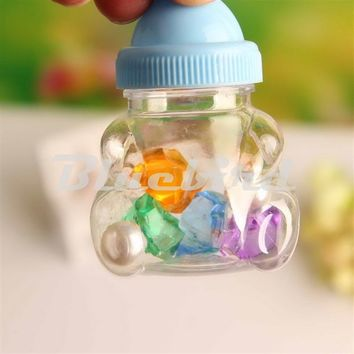 2016 New Hot Sale 12pcs Baby Shower Candy Box Bottle Pink Girl Blue Boy Birthday Party Favours Christmas Gift (Baby Shape)
